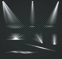 Bright lighting with spotlights set vector