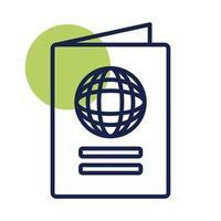 icono de estilo de línea de bloque de documento de pasaporte vector