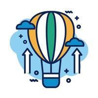 icono de estilo de detalle de globo de aire caliente vector