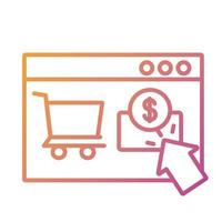 template web with coin and cart shopping payment online line degradient style vector