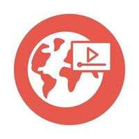earth planet with media player education online block style vector