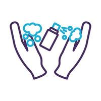 hands using disinfectant spray bottle product line style vector