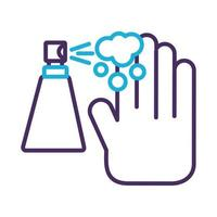 hand using disinfectant spray bottle product line style vector