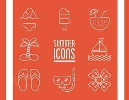 bundle of beach set flat icons vector