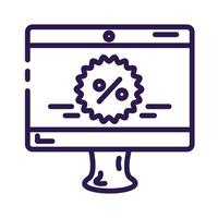 computer desktop with tag line style icon vector