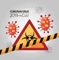 partículas covid 19 y señal de peligro biológico vector