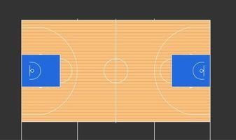 Ilustración de vector de cancha de baloncesto con marcas fiba