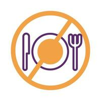 dish with knife and fork in denied symbol line style vector