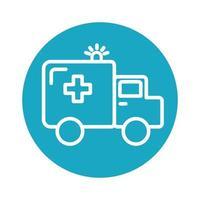 ambulance car vehicle block style icon vector
