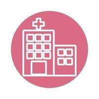 icono de estilo de bloque de construcción de hospital vector