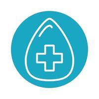 drop blood medical block icon vector