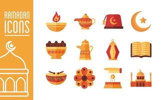 bundle of ramadan kareem set icons vector