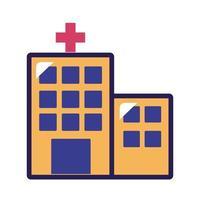 icono de estilo de relleno y línea de edificio de hospital vector