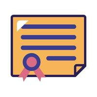 diploma certificate graduation line and fill style vector
