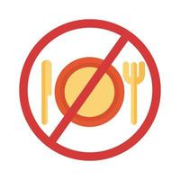 dish with knife and fork in denied symbol flat style vector