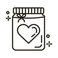 happy valentines day heart in mason jar line style vector