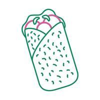 delicious mexican burrito line style icon vector