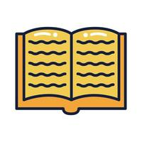 text book school supply line and fill style vector