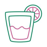 fresh tropical tequila cocktail with lemon line style icon vector