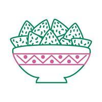 delicious mexican nachos line style icon vector