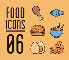bundle of six delicious food set icons vector
