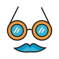 crazy glasses fools day line and fill style icon vector