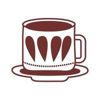dish and ceramic cup with leafs line style icon vector