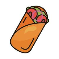 icono de estilo de relleno y línea de burrito mexicano vector