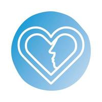 happy valentines day heart with couple profiles block style vector