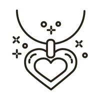 happy valentines day necklace with heart line style vector