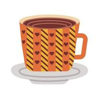 dish and ceramic cup with hearts flat style icon vector