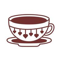 dish and ceramic cup with hearts line style icon vector