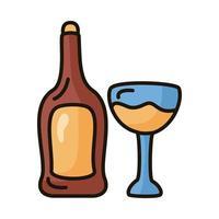botella de vino y línea de copa e icono de estilo de relleno vector