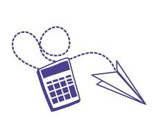 calculator math with paper airplane vector