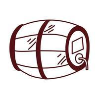 barril de vino, bebida, aislado, icono vector