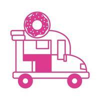 donut car shop isolated icon vector