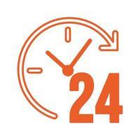tiempo, 24 horas, servicio, aislado, icono vector