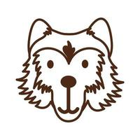 cute wolf wild animal character icon vector