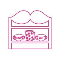 store wooden shelving with ceramics cups vector