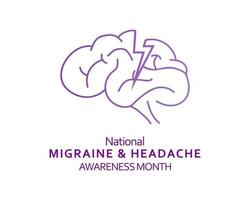 Ilustración de la campaña de publicaciones en redes sociales del mes de concientización sobre migrañas y dolores de cabeza vector