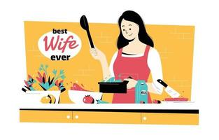 Happy Beautiful Wife Cooking in the Kitchen vector