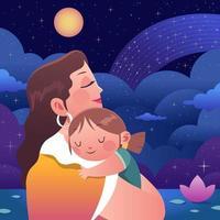 madre abraza a su hijo vector