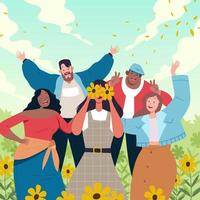 Young Adult People in Diversity vector