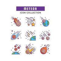 conjunto de icono de meteoritos vector