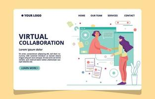 Two Women Deal in Virtual Meeting vector