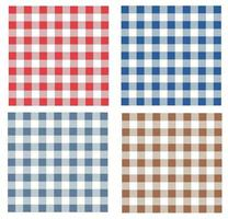 Red, blue and brown gingham patterns. Seamless backgrounds for tablecloth, dress, skirt, gift wrapping paper, napkins or other modern textile designs for spring, summer, autumn and winter. Vector EPS 10
