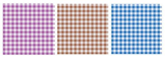 Gingham patterns are three colors blue, purple and brown. Seamless colorful vichy backgrounds for tablecloth, dress, skirt, or other modern textile designs in spring and summer. Vector EPS 10