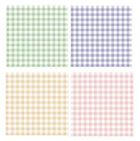 Gingham pattern selected in coral pink green purple and yellow Spring  Summer Seamless Vichy stripes, oilcloth, napkins, dress and other trendy fabric designs. vector