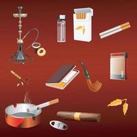 Smoking tobacco addiction vector illustration set.  Cigar lighter hookah vape and tobacco leaves on isolated background. Vector EPS 10