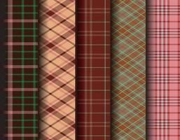 Set Tartan Check Plaid Seamless Patterns Backgrounds. Black, Red, Camel Beige and White Flannel Shirt Tartan Patterns. Vector EPS 10